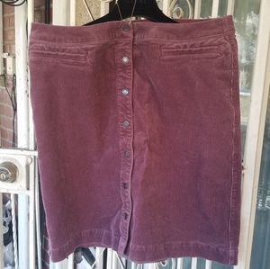 Land's End Plus Sized Courduroy Skirt Size 16W